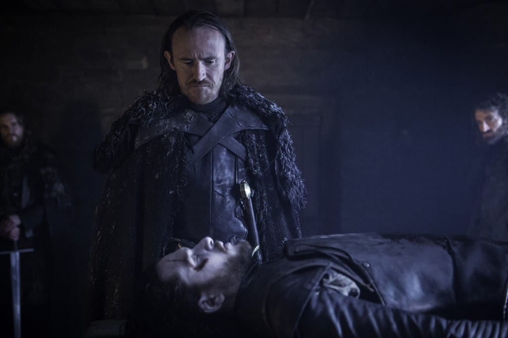 "Dolorous Edd stands over Jon Snow in Episode 601, ""The Red Woman"""