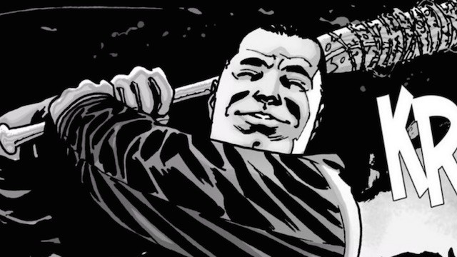 Negan swings his awesome vampire bat Lucille — and in the comics, we see the hit in all its gory detail