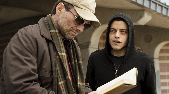 "Christian Slater and Rami Malek in ""Mr. Robot"" season one episode two."