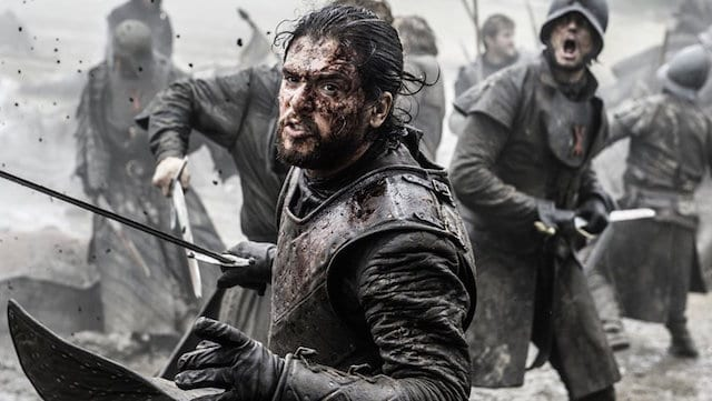"Kit Harington as Jon Snow in the thick of the ""Battle of the Bastards"""